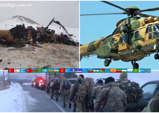 Bitlis'in Tatvan İlçesi'nde askeri helikopter düştü